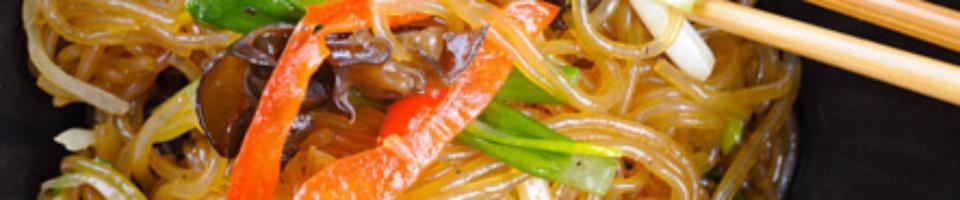 Traditional Korean Noodles with Vegetables (Japchae)